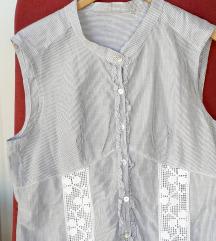 Prugasta sivo-bijela bluza-tunika L
