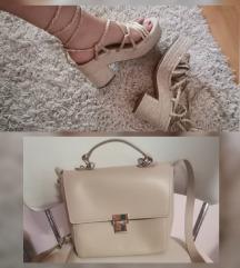 Lot 🤎🤍 Bež P&B sandale i torbica