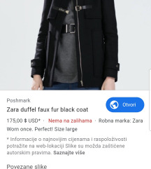 Zara vuneni crni kaput
