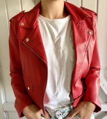 BERSHKA crvena kožna jakna