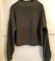 H&m maslinati crop top pulover vel M