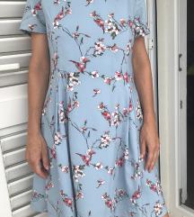 Plava haljina sa cvijecem i pticama ve 40