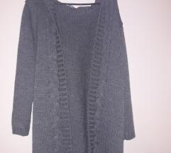 dug sivi pleteni džemper s kapuljačom