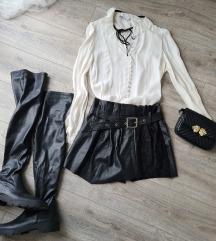 Zara kožne suknja hlače s remenom