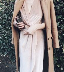 Zara Nude Velvet Haljina