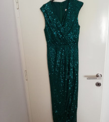 Duga svečana smaragdno zelena haljina 40