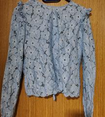 Plava čipkasta košulja