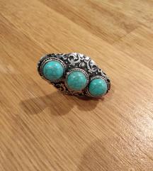 Prsten, imitacija srebra i tirkiza, podesiv!