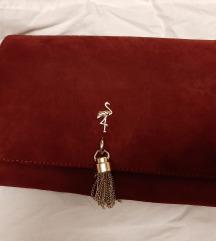 Menbur bordo torbica sa zlatnim lancem