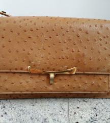 Vintage torbica od nojeve kože