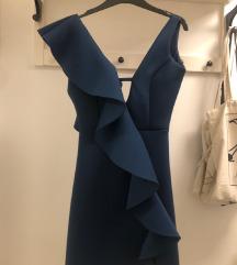 Petrolej plava haljina s volanom