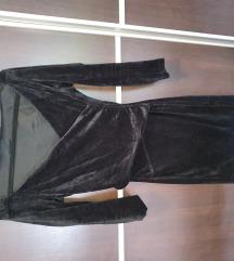 Crna plišana haljina
