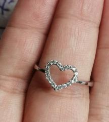srebro srce prsten 925