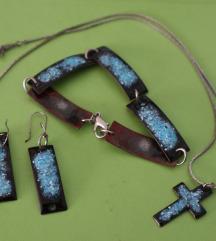 Unikat handmade lot nakita naušnice, ogrlica
