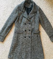 Crno sivi pepita karirani kaput vel M
