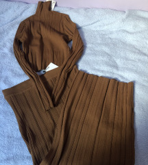 Zara camel set suknja i top pulover L