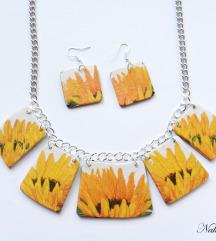 Komplet suncokret ogrlica+naušnice