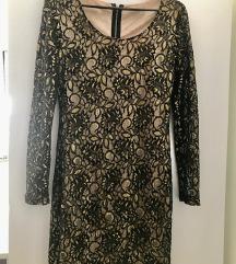 Crno bež čipkasta haljina