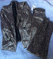 Zara velvet print odijelo sako hlače S XS