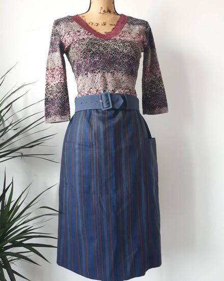 Vintage prugasta suknja, made in Paris