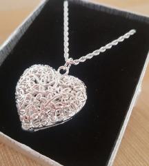 Srebrni lančić,veliko srce,925,kutijica