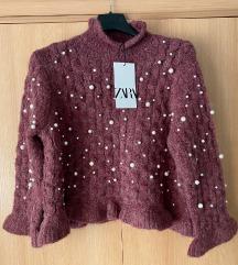 Novi Zara vuneni pulover s perlicama i etiketom