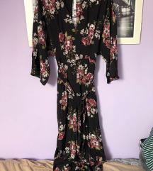 Zara crni cvjetni kimono kombinezon S 36