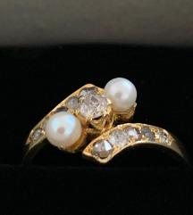 Prsten dijamanti i biser, antikni