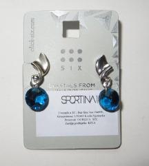 Nove naušnice sa Swarowski kristalima - plave