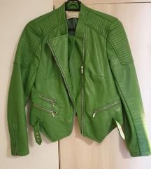Zara zelena kozna jakna S/M