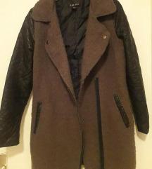 Maslinasto zeleni kaput s kožnim rukavima XS-S