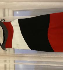 Haljina crvena/siva/crna
