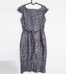 Metalik srebrna taft haljina Vintage Haddad