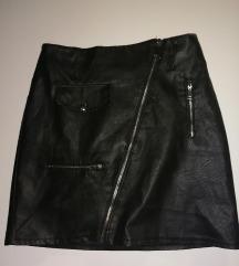 Kožna suknja s patentom