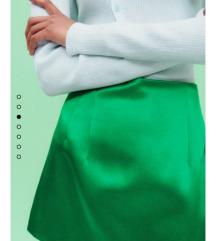 Zara satinirana mini zelena suknja