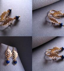 Naušnice s lapis lazulijem pozlaćene 16K zlatom