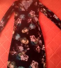 Club L Plunge Neck Midi Dress Blurred Floral Print