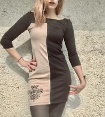 Bež/crna haljina