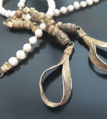 Dizajnerska ogrlica biseri + mesing