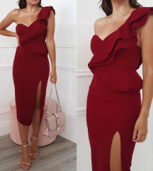 Oh hello clothing tamno crvena haljina