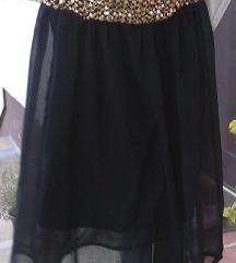 crno-zlatna asimetrična haljina