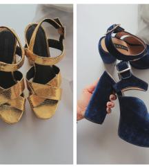 ZARA baršunaste sandale| H&M zlatne sandale