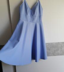 Plava midi svečana haljina