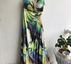 Duga šarena rastezljiva haljina vel m-l