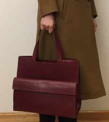 Zara woman kožna tote torba