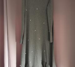 Siva midi haljina