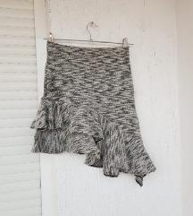 ZARA siva ljetna asimetrčna suknja s volanima