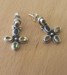 Naušnice od srebra i tourmaline kamenjem