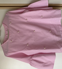 Roza košulja s biserima