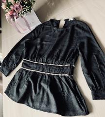 Zara bluza crna s perlama, biserima